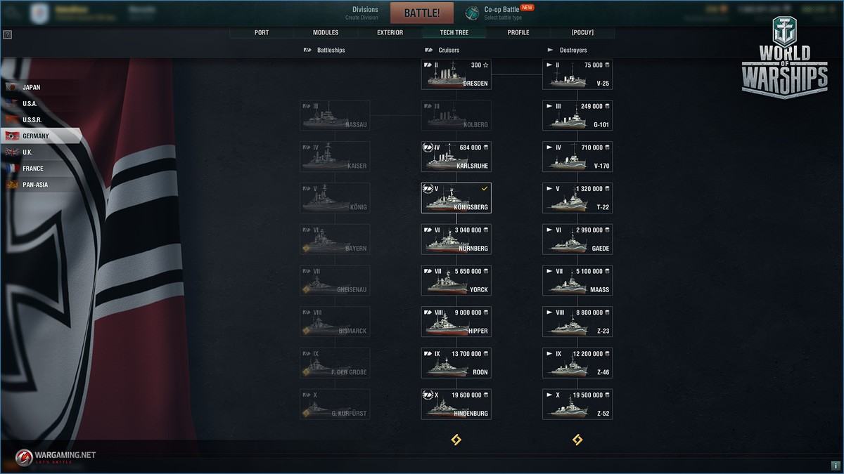 Image result for war of warships tech tree